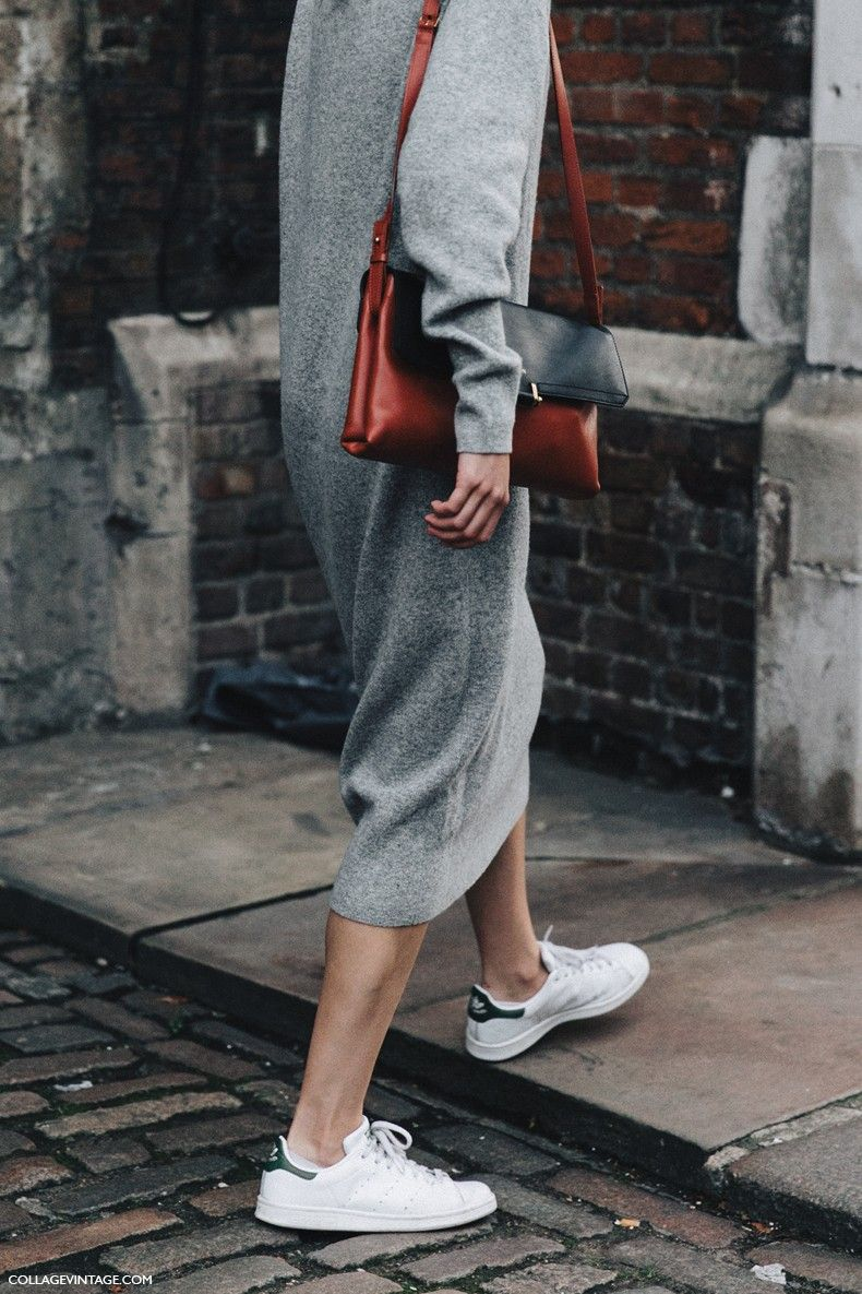 London_Fashion_Week-Spring_Summer_16-LFW-Street_Style-Collage_Vintage-Grey_Knit_Dress-Sneakers-