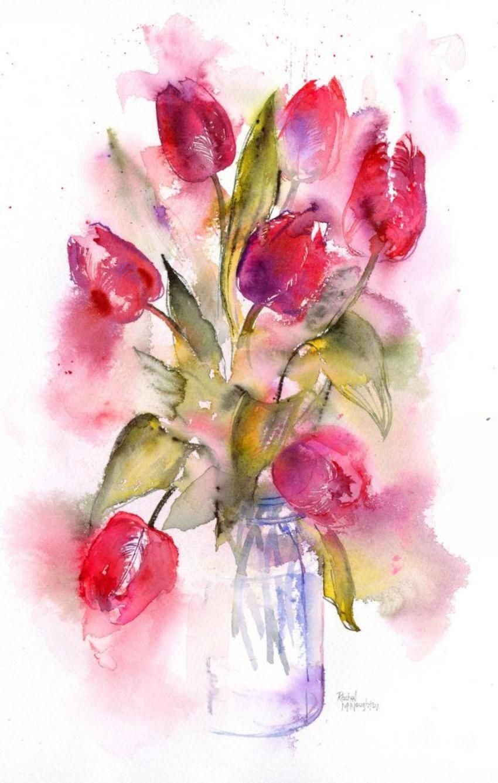 Tulip Jar Dwatercolor Class Watercolor Watercolor Paintings