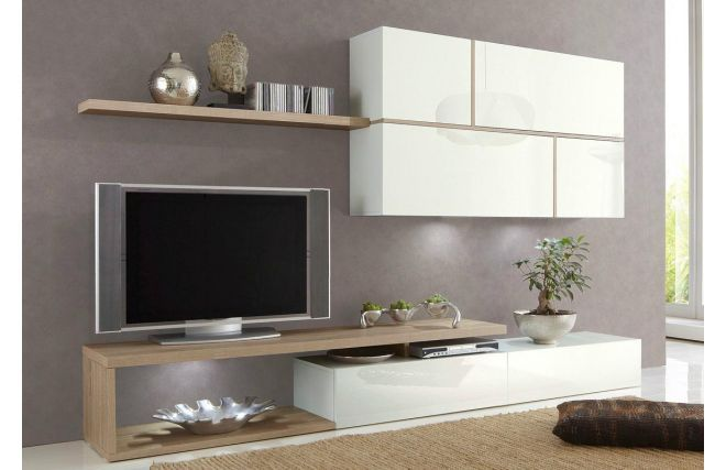 Meuble Tv Blanc Laque Bois : Ensemble Tv Mural Design Laqué Blanc ...