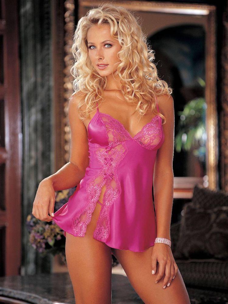 84dda71fa8b5 Sexy Pink Shiny Ribbon Lace Chemise & Thong Shirley of Hollywood Lingerie  Slip #ShirleyOfHollywood #Chemise