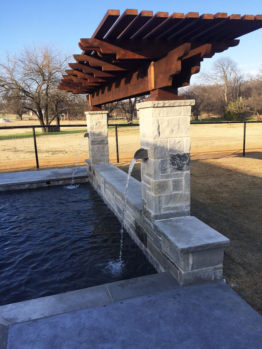 BMR pool and patio waterfall stone covered pergola.jpg ... on Rock And Stone Outdoor Living id=48274