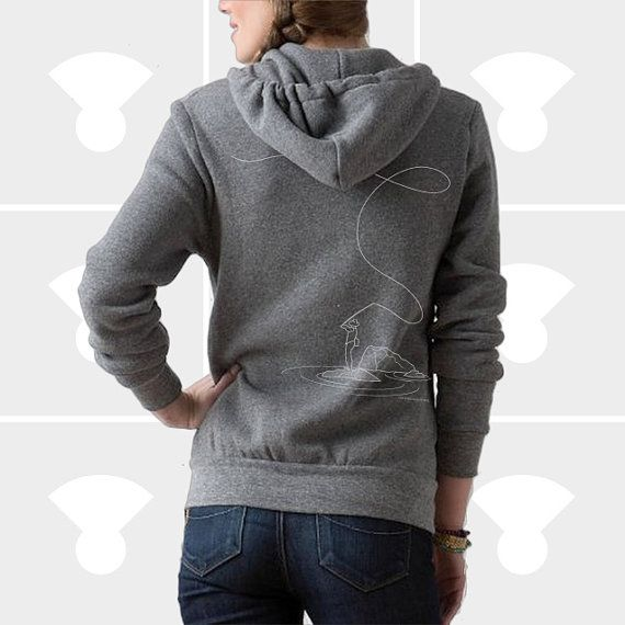 Hoodie fly fishing women on etsy aud fashion for Fly fishing hoodie