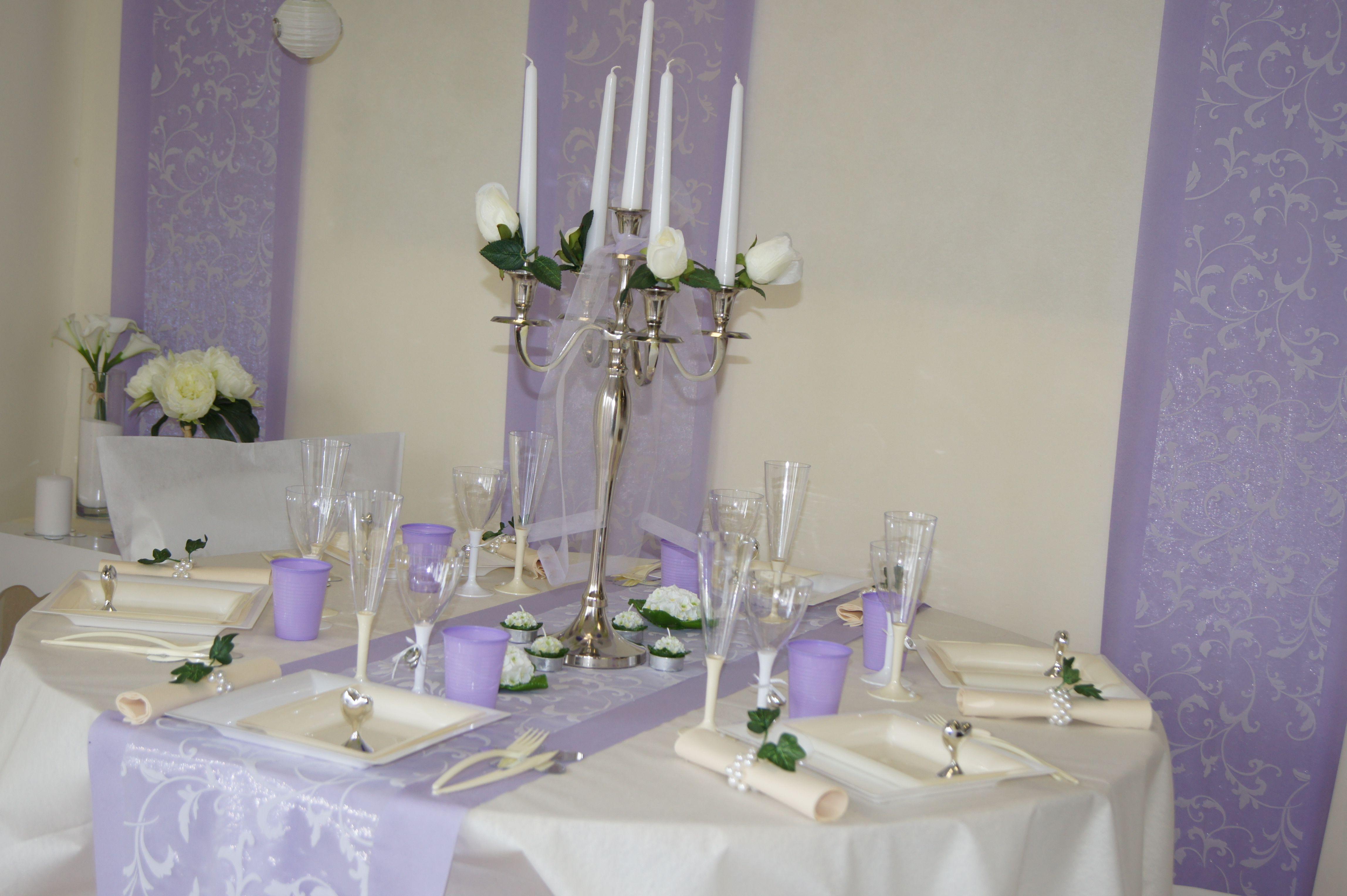 D Coration De Table Mariage Blanc Mauve Www Le Geant De La