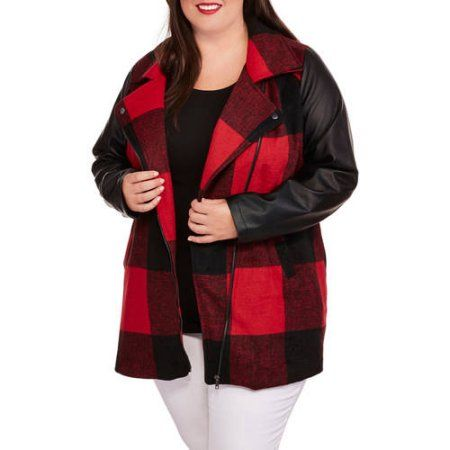 Maxwell Studio Women's Plus-Size Buffalo Plaid Faux Wool Coat with Faux Leather Sleeves, Size: 4XL, Red
