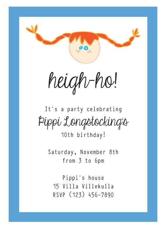 Pippi Longstocking Birthday Invitation
