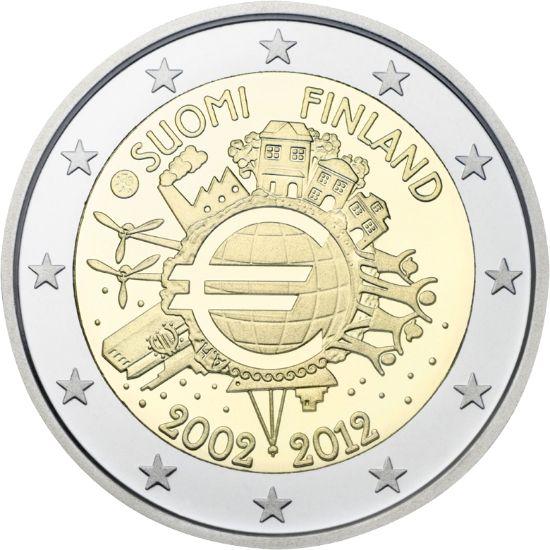 """kahden euron erikoisrahoja """"Euro 10 vuotta"""""""