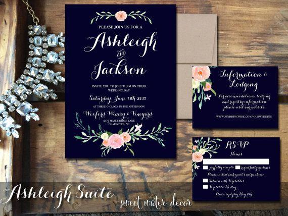 Navy And Peach Wedding Invitations: Navy Wedding Invitations Floral Wedding Invitation