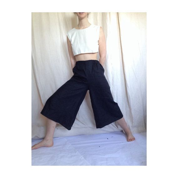 Woven black linen pants. Super wide leg black linen culottes ...