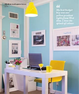 Turquoise And Yellow Office Great Color Combo For A Happy Space