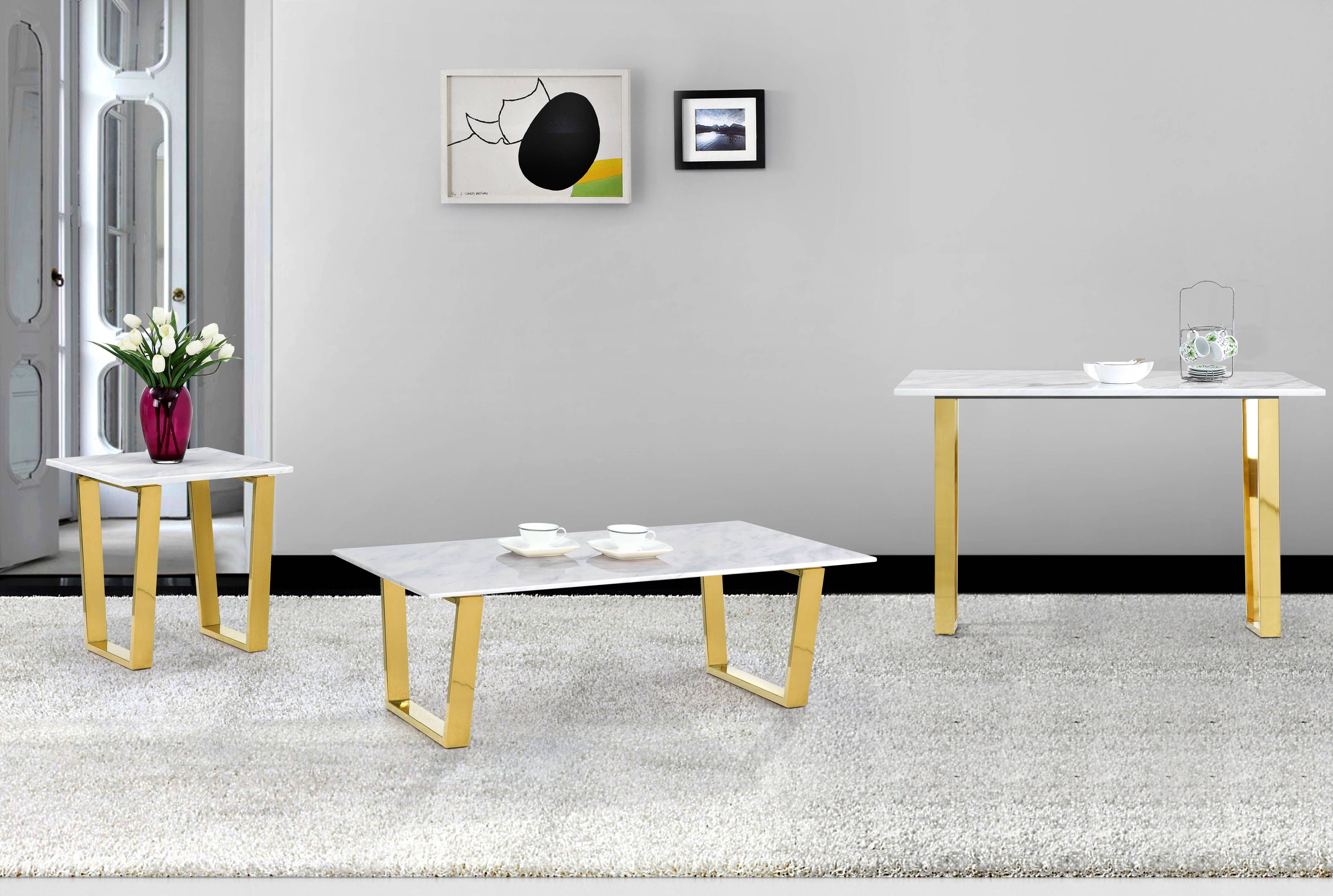 Cameron Gold Stainless Steel Genuine Marble Top Coffee Table Set - Genuine marble coffee table