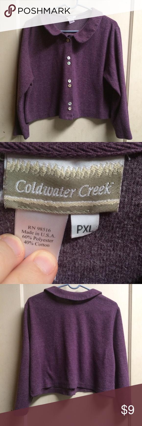 Dark purple peterpan collar sweater size Xl petite | Coldwater ...