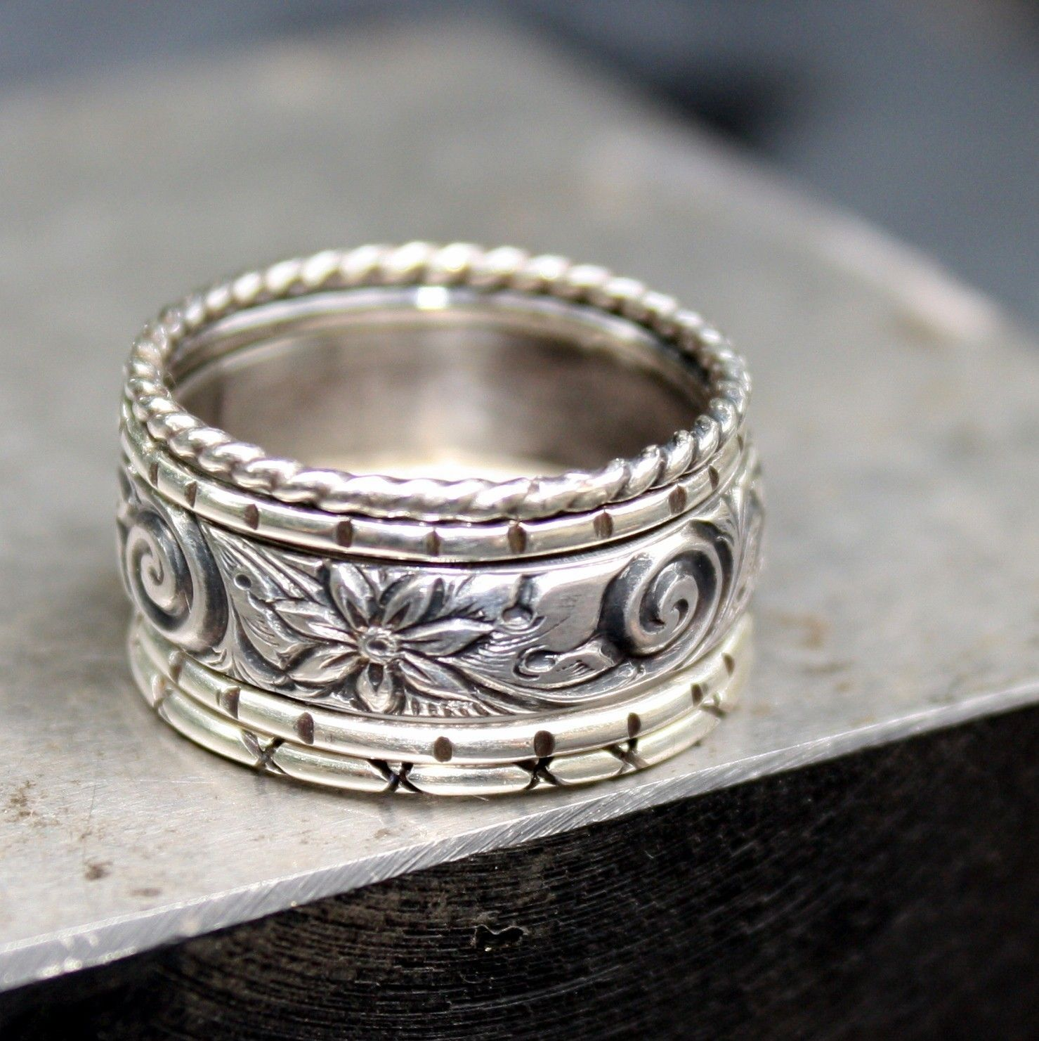 Sterling Silver Stacking Rings Set of five Jewelry