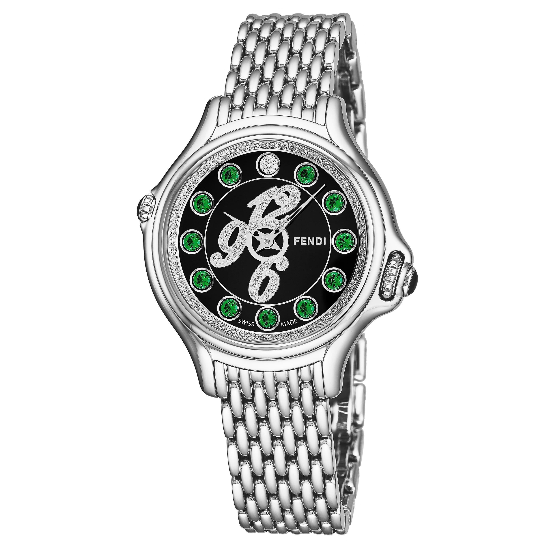Fendi Women's F105021000D3T03 'CrazyCarats' Black Diamond Dial Swiss Quartz Watch
