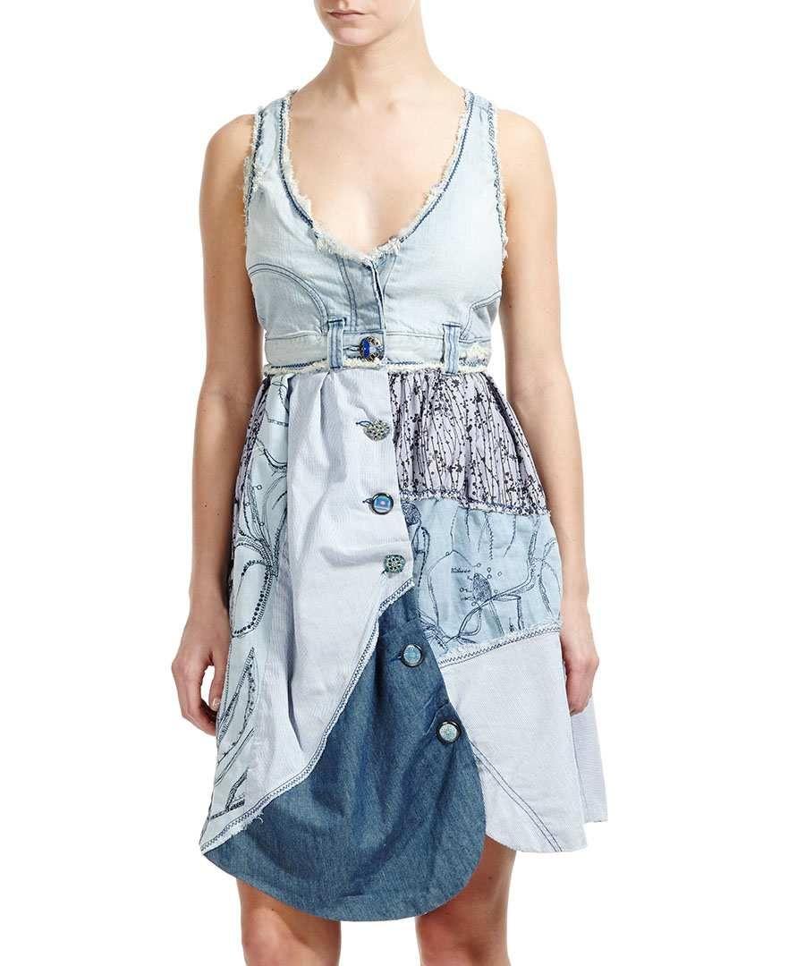 trop robe en jean patch vendre desigual denim by. Black Bedroom Furniture Sets. Home Design Ideas