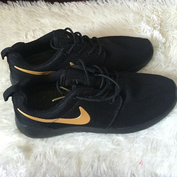 54b4c0074d36 Black w  gold check mark Nike roshe runs Brand new does not include a box  size 8.5 mens would say fits more of a 9.5-10 woman. Nike Shoes Sneakers