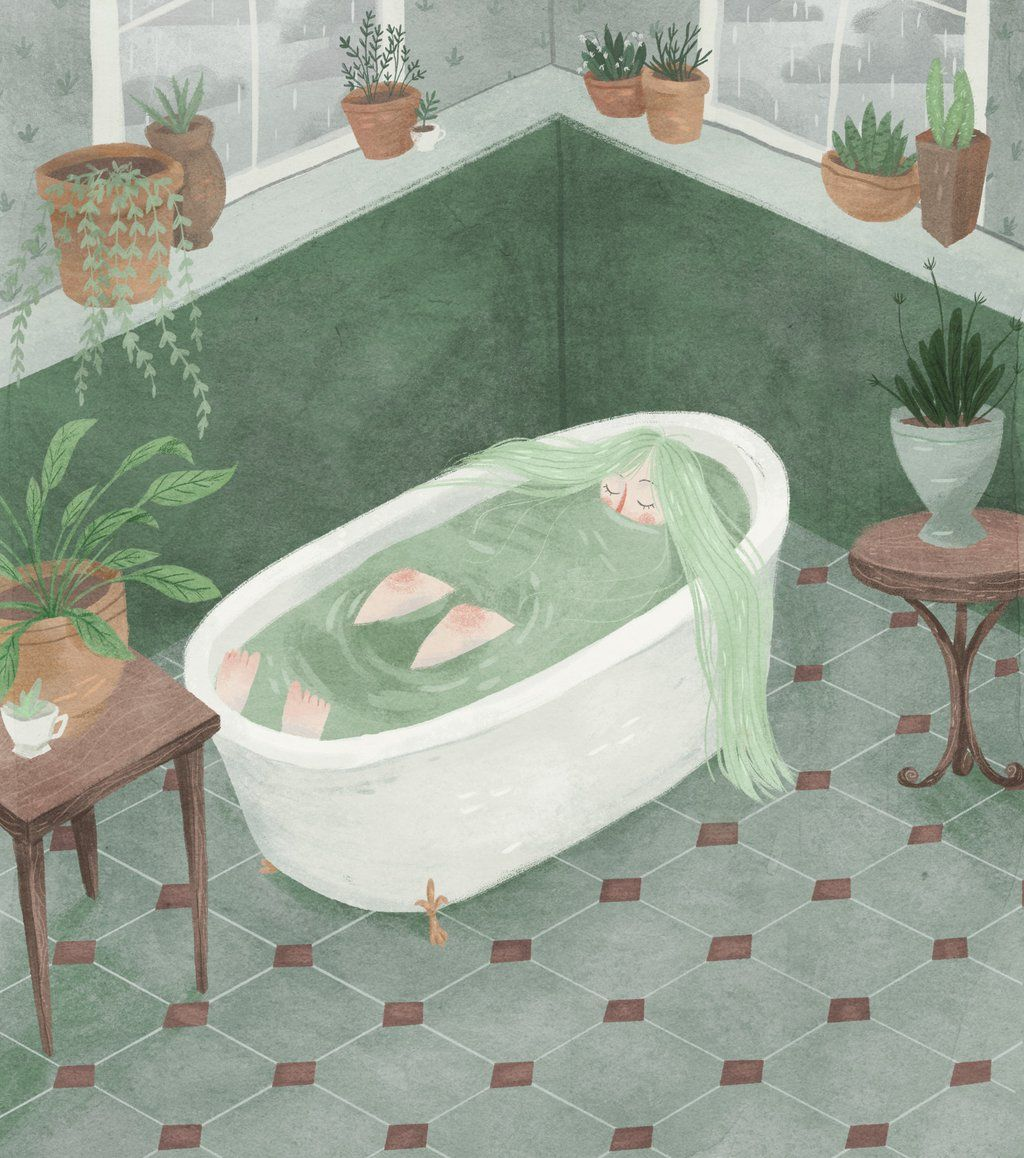 Taryn Draws, girl, bathroom, tub, relax, alone, water, illustration