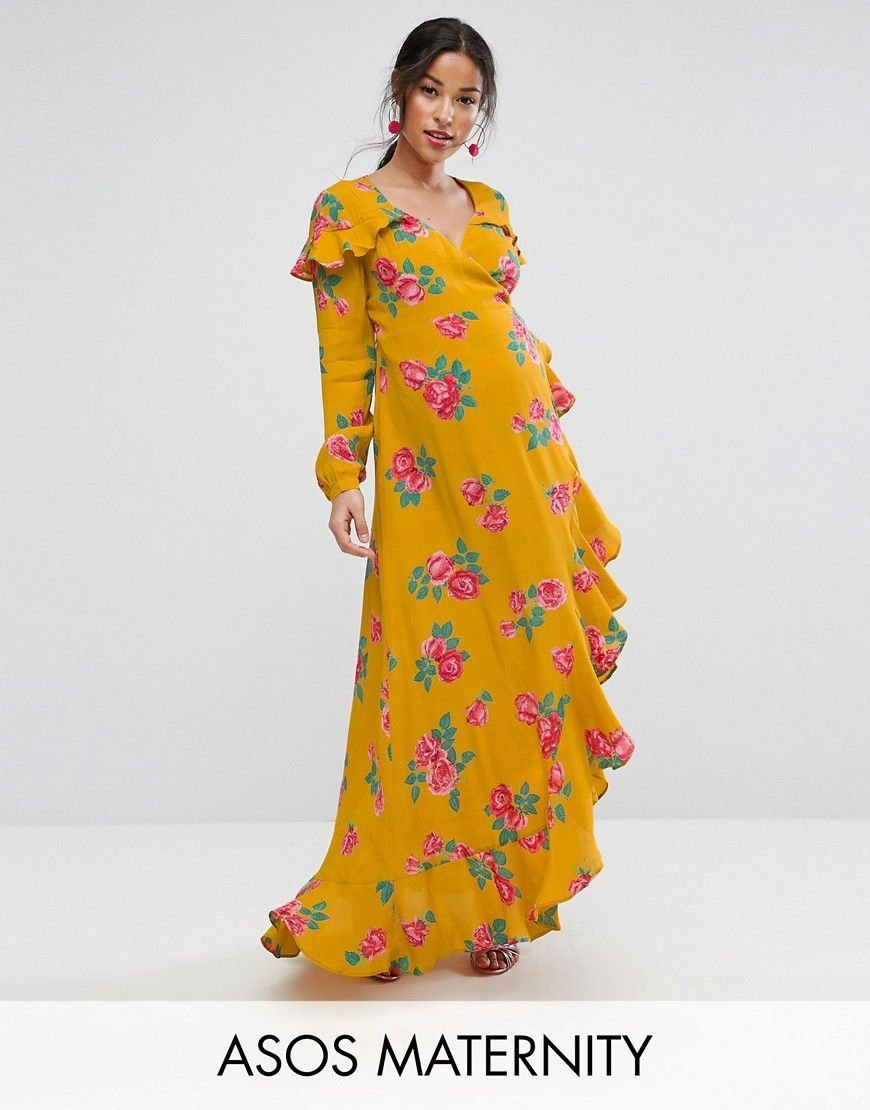 Asos maternity long sleeve wrap maxi dress in bold floral multi