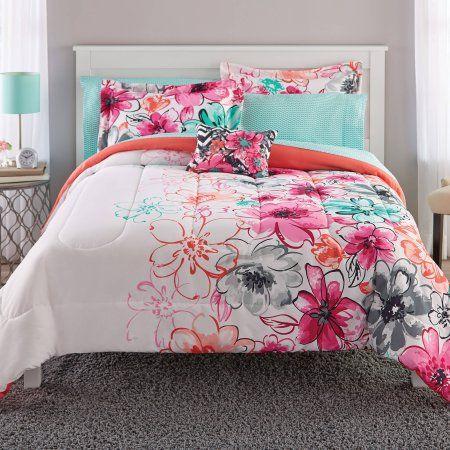 Mainstays Watercolor Floral Coordinated Bedding Set Walmart Com Full Bedding Sets Comforter Sets Luxury Bedding Sets