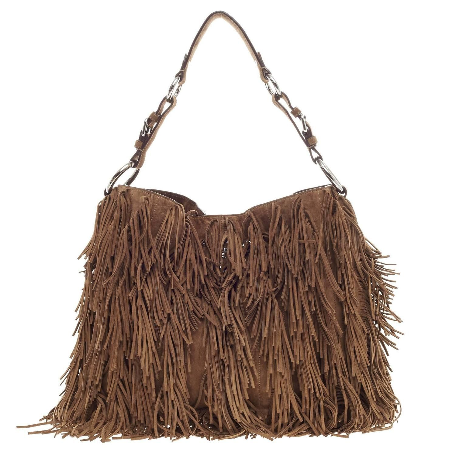 6b8e980c540b Prada Fringe Hobo Suede Medium | From a collection of rare vintage shoulder  bags at https