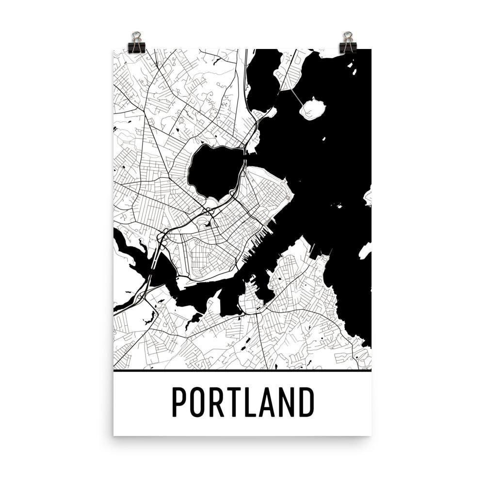 portland me street map Portland Me Street Map Poster Portland Map Map Art portland me street map