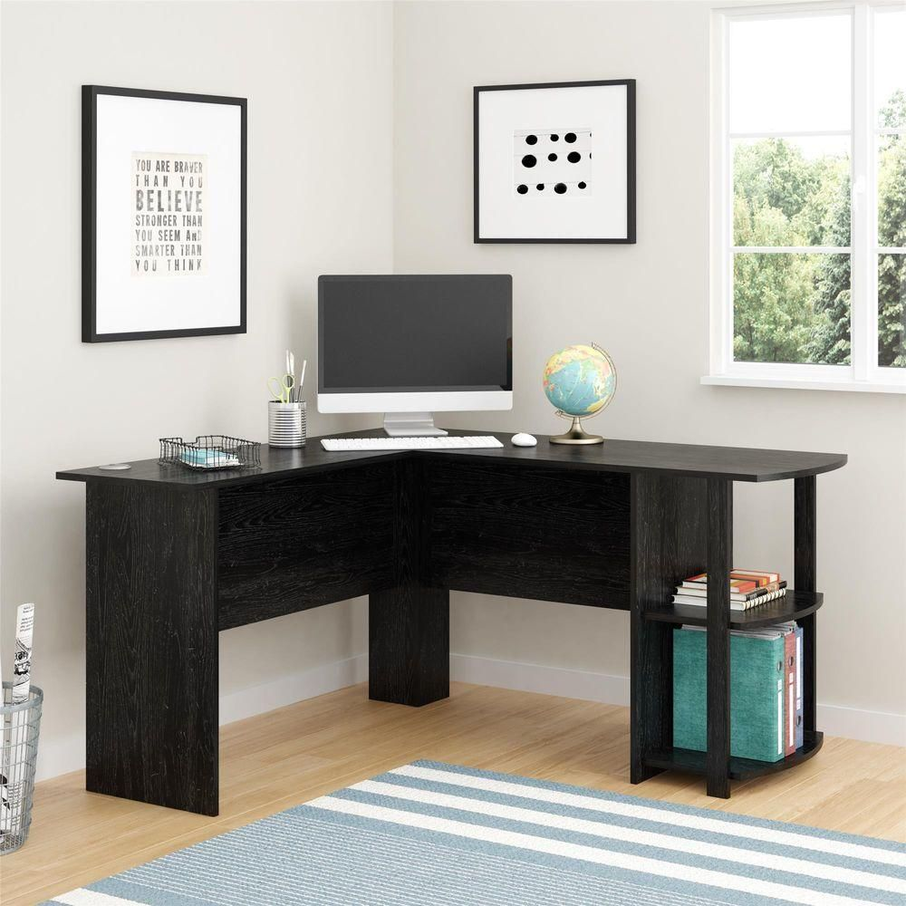 ameriwood corner desk with 2 shelves in black ebony ash home rh pinterest com au
