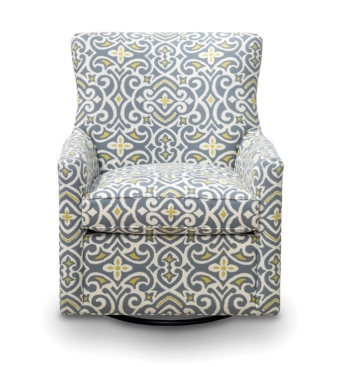 Family Room Chair In A Blue Slate Dot Fabric Gray And Yellow Quatrefoil Patterned Upholstered
