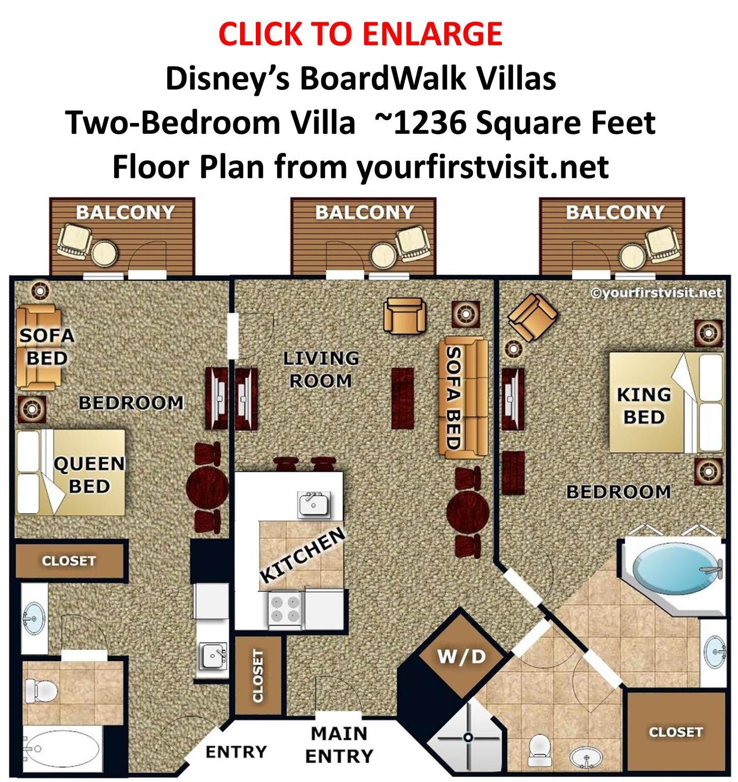 Disney s BoardWalk Villas Two Bedroom Villa Floor Plan from  yourfirstvisit net. Photo Tour of the Master Bedroom and Baths of a One Bedroom Villa