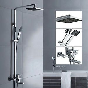 8 Wall Mounted Square Bath Rainfall Shower Head Arm Mixer Tap Faucet Set Ebay Shower Heads Square Bath Shower Bath
