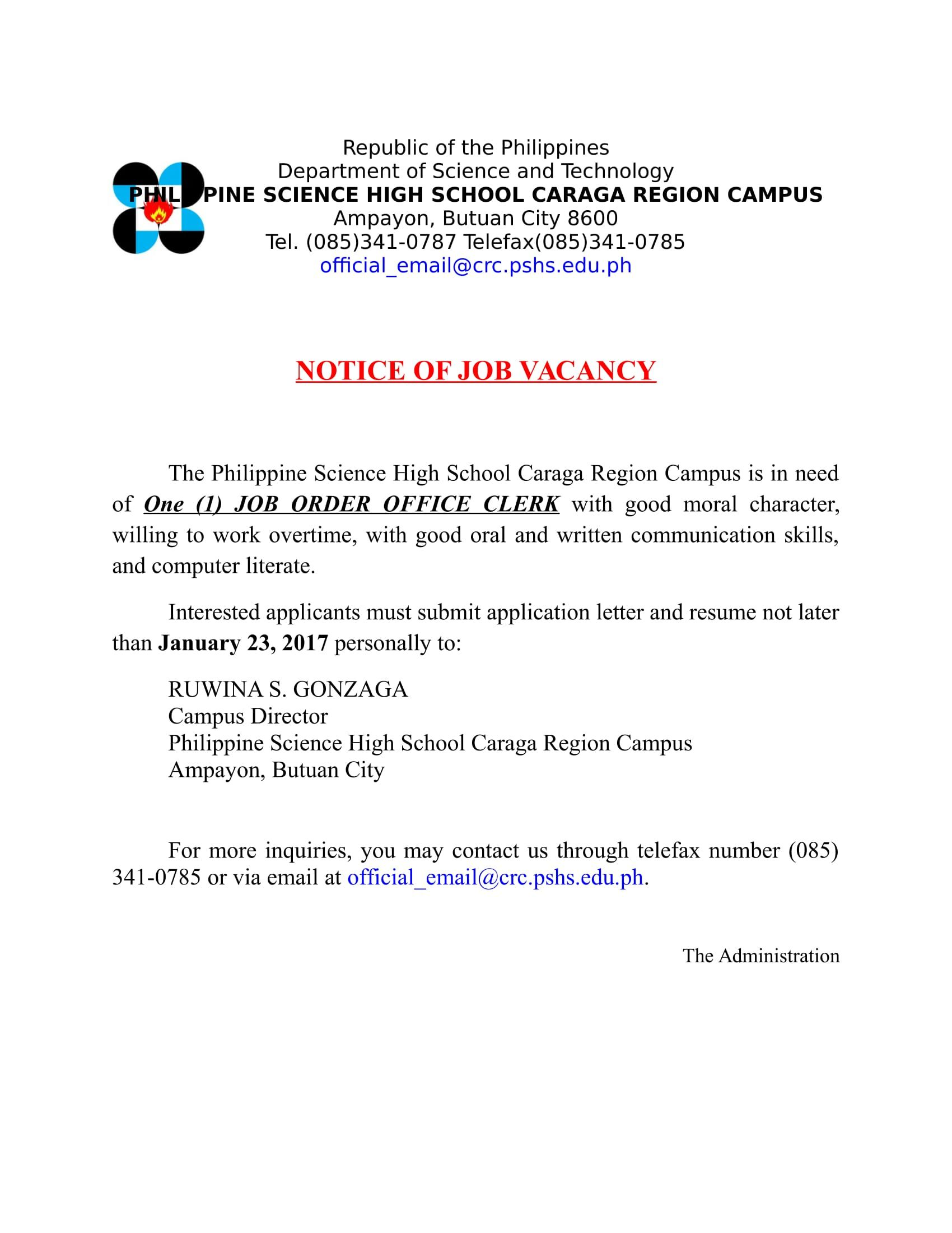 Philippine Science High School Caraga Region Campus Job Details