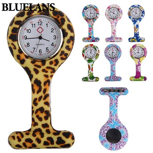 Fashion Patterned Silicone Nurses Brooch Tunic Fob Pocket Watch Stainless Dial 911N