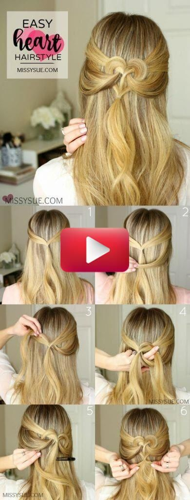 12 Christmas Hairstyles Tutorial D I Y Easy Heart Hairstyle In 2020 Heart Hair Hair Tutorial Hair Styles