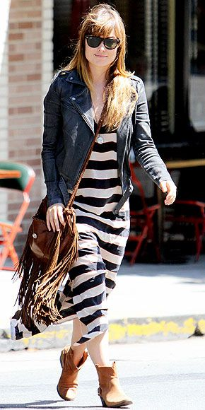 stripe maxi+boots+leather+fringe bag
