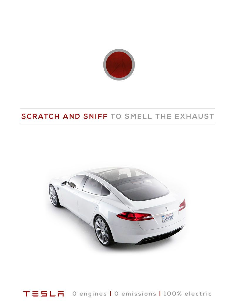 teslas car print ads encourage interaction with a big red button eco trendhuntercom - Cars Pictures To Print