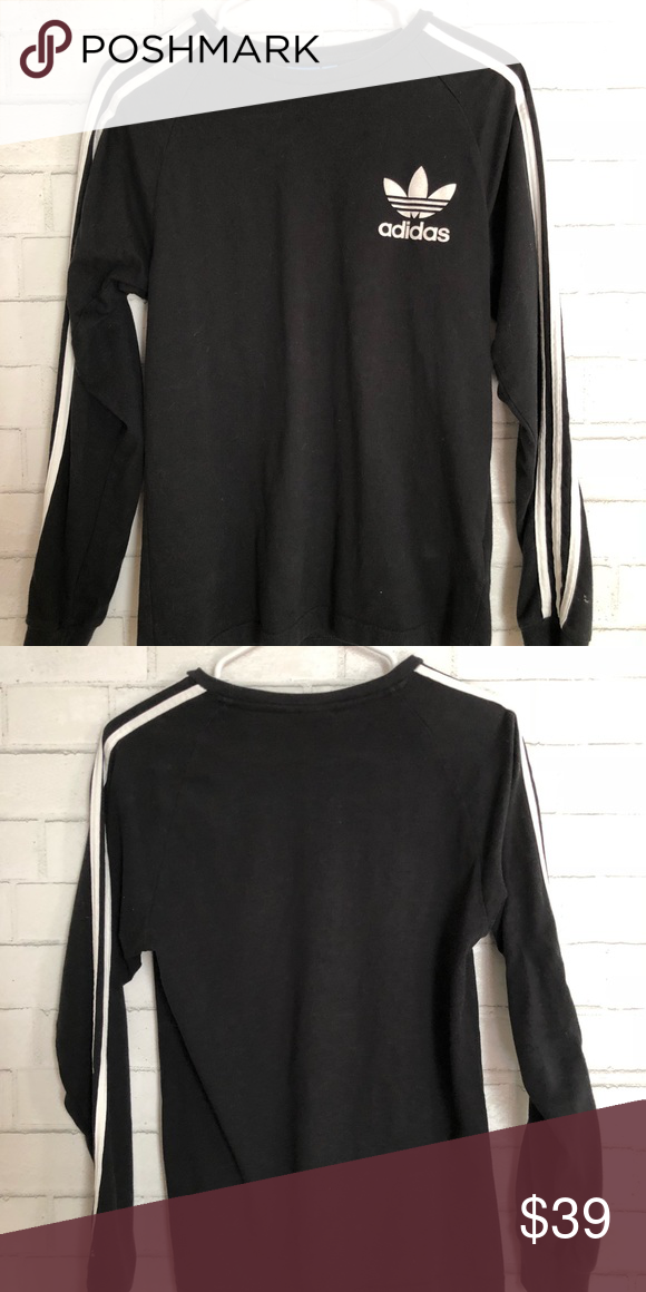 9d518e2ffab4 Black small men Adidas black long sleeve stripe Preowned like new men size  small black Adidas long sleeve 3 stripe....the cloth is more fitted style  adidas ...