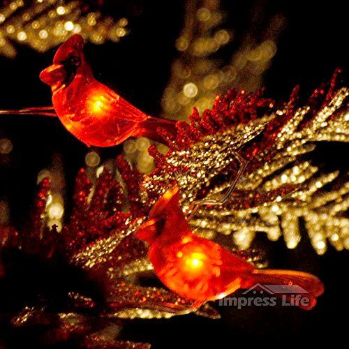 Christmas Red Snow Bird String Lights By IMPRESS LIFE On 10 Ft Copper Wire  40 Cold Awesome Ideas