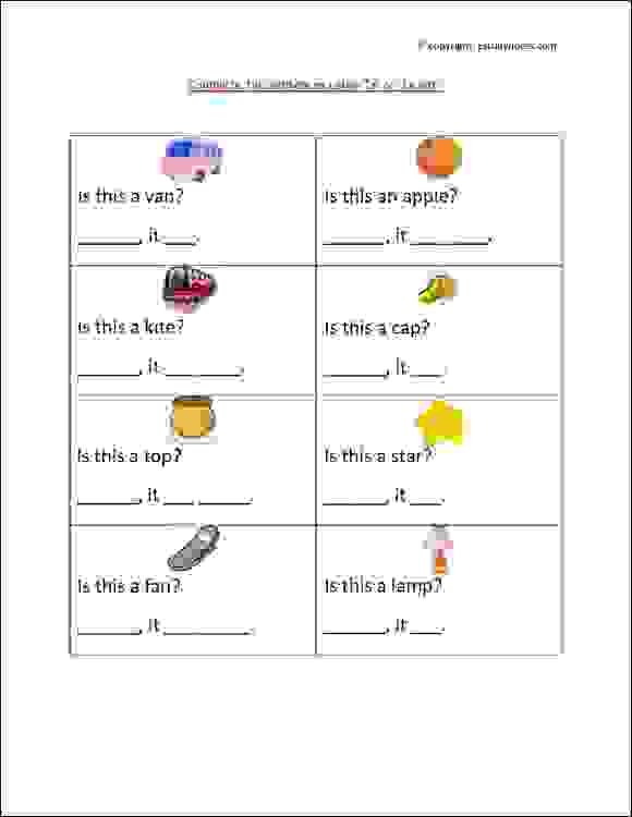 grade 1 english grammar worksheet with pictures to practice use of 39 is 39 and 39 is not 39 is or is. Black Bedroom Furniture Sets. Home Design Ideas