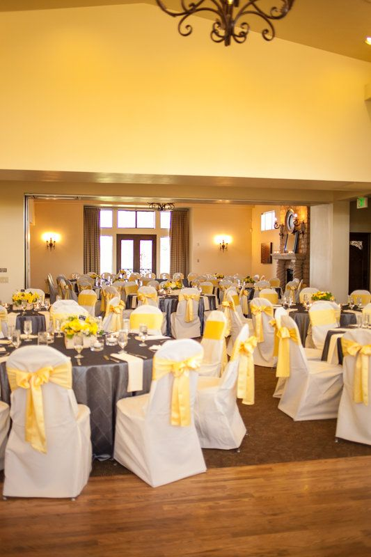 Yellow And Gray Wedding Reception Like The Sashes On The Chairs But With Gray Chevron Table Clothes Grey Wedding Decor Yellow Grey Weddings Yellow Wedding