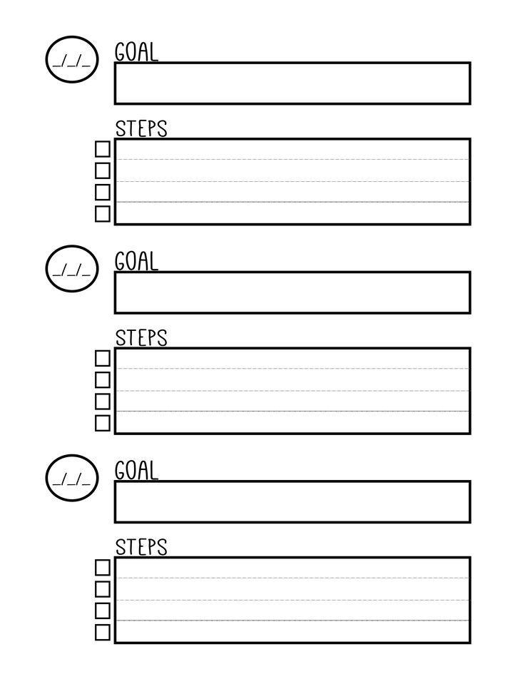 Free Printable Goal Setting Planner Worksheet Teens Goal Setting - goal setting templates