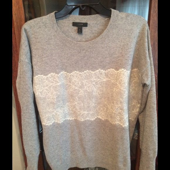 J. Crew Wool Sweater w/Lace Front Panel Beautiful, cozy J. Crew gray wool crew neck sweater with lace panel stripe on front. Worn a handful of times. Some pilling under arms as shown in last pic; priced accordingly. Freshly dry-cleaned. Size runs more like a M. J. Crew Sweaters Crew & Scoop Necks