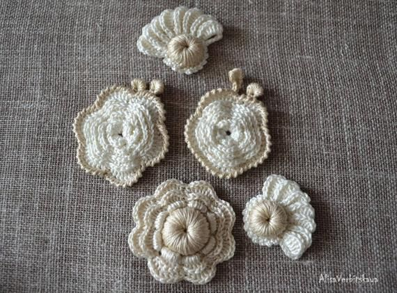 Irish Crochet Flower applique 10pcs DIY Kit to create Irish crochet Set flower Crochet flower Crochet set Crochet Flower fashion Flower ar #irishcrochetflowers