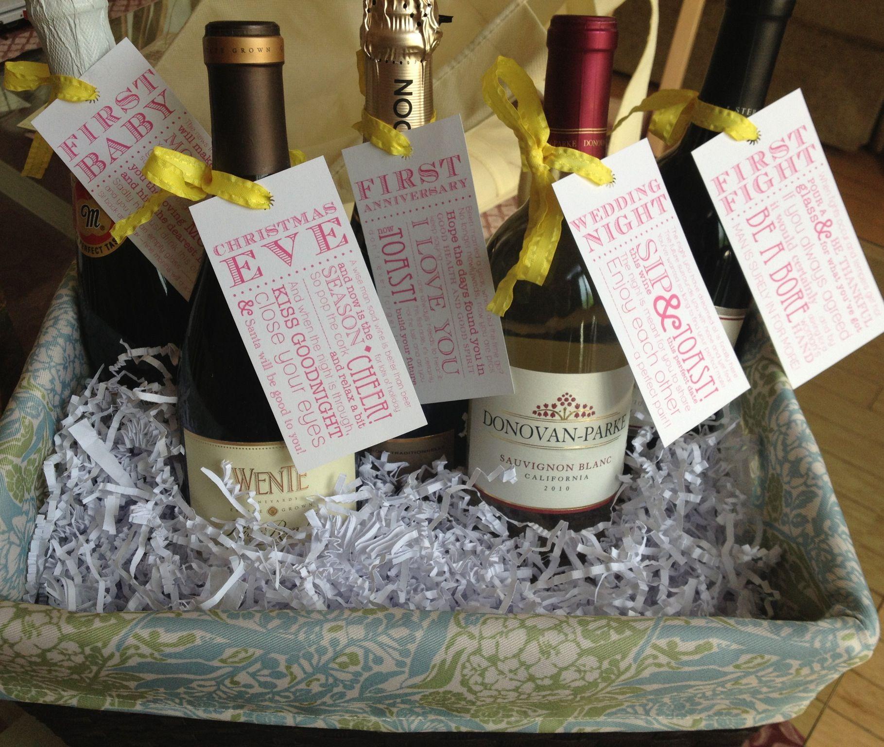 Bridal shower Firsts wine basket Bridal shower