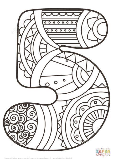 número 5 zentangle | super coloring | páginas para