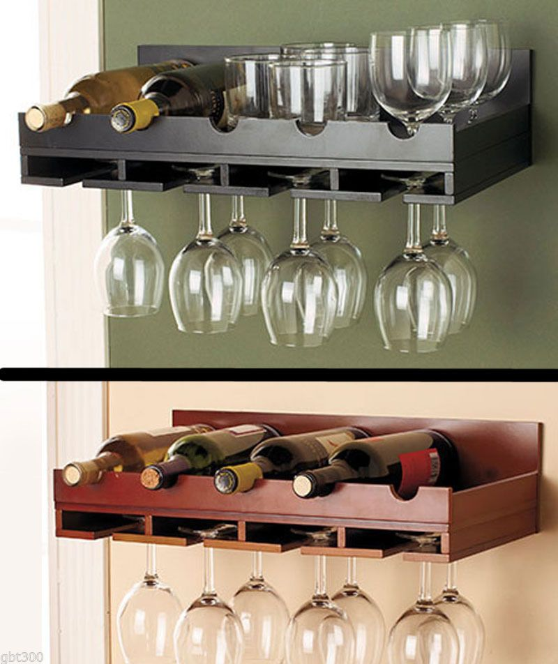 Wooden Wine Rack In Stock Wall Mount Hanging Glass Holder Holds 5