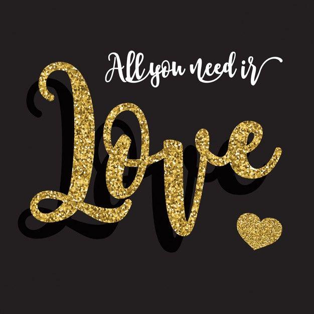 fundo Dia dos Namorados com glitter dourado tipografia Vetor grátis