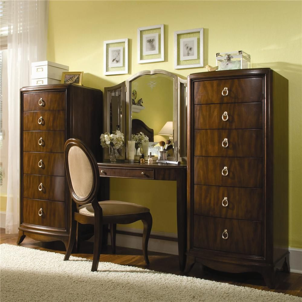 elite rhapsody vanity desk   tri view mirror combo by