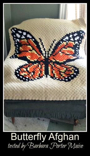 5 Color Butterfly Afghan C2C Graph with Written Word Chart | crochet ...