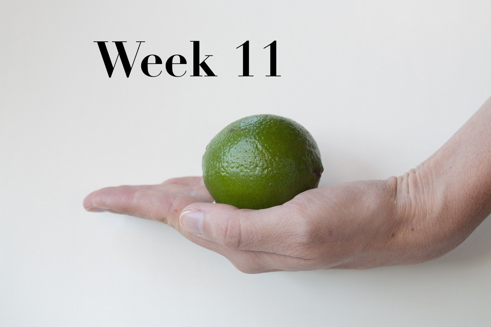 Week 11, Baby is the size of a lime. Maybe a really small lime ...