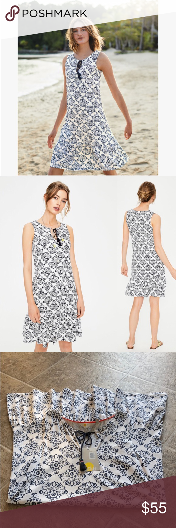4835d5ecfb9 Boden NWT Arabella Jersey Dress White Navy 52% modal 48% cotton Machine  washable Relaxed fit Length finishes above knee Sleeveless Soft cotton  blend jersey ...