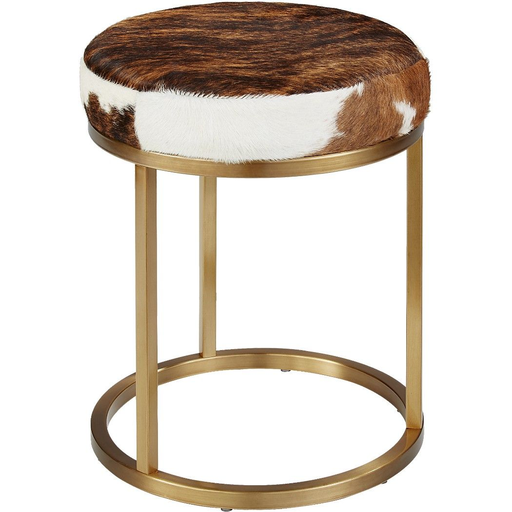 Shop Hide Brass Stool Stunning Brown And White Hide Tops A Shiny