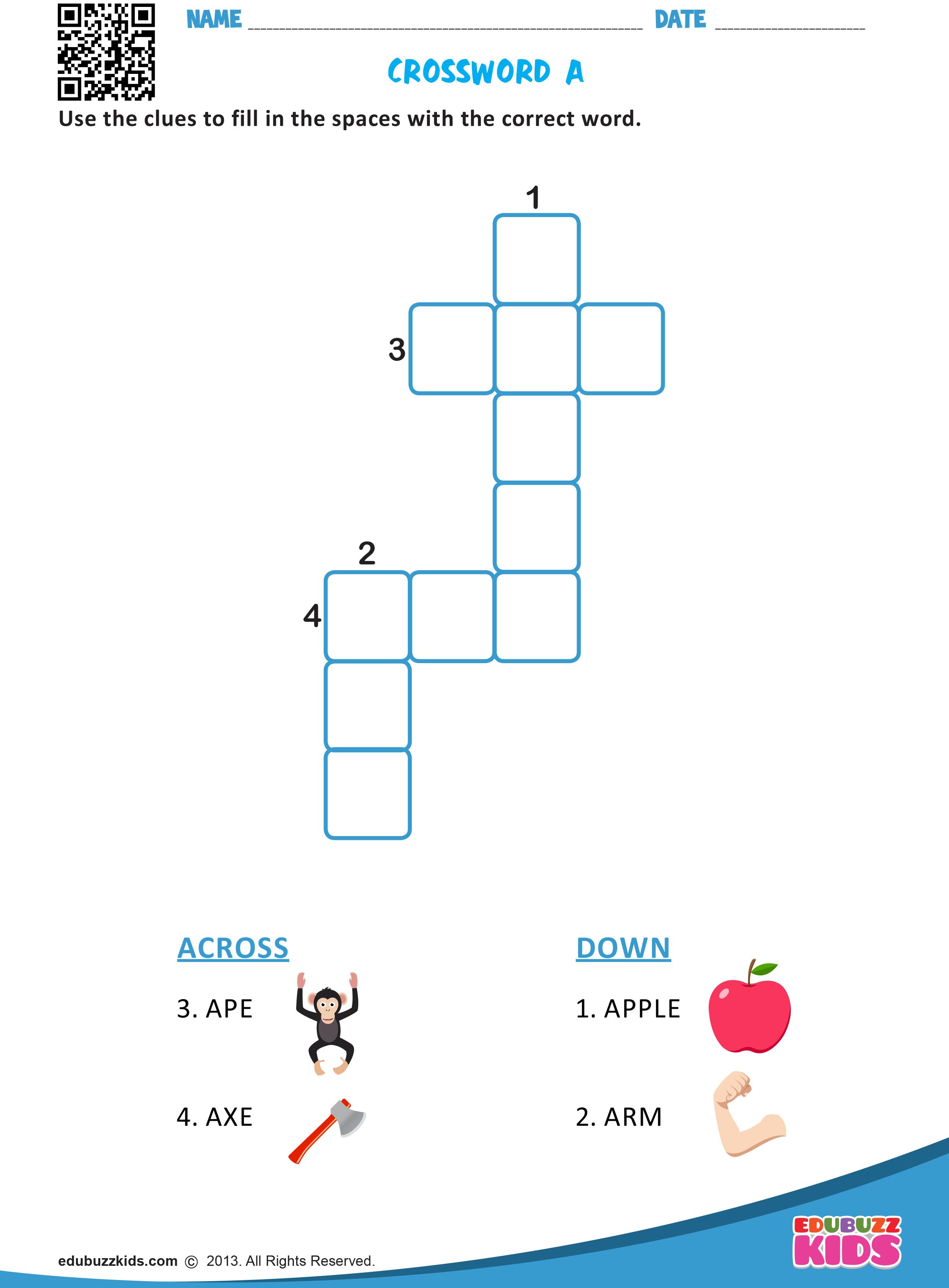 Crossword A Kindergarten Classroom Games Kindergarten Homework Kids Homework [ 3366 x 2480 Pixel ]